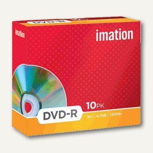 imation DVD-R Rohlinge, 4.7 GB, 16x Speed, Jewel Case, 10 Stück, 21976