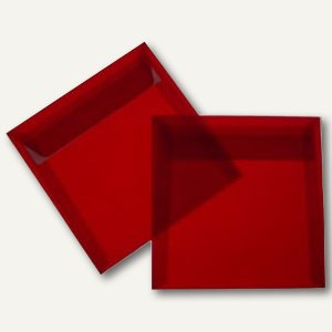 Briefumschlag 125 x 125 mm, haftkl., 100g/m², transparent-rot, 100 St.
