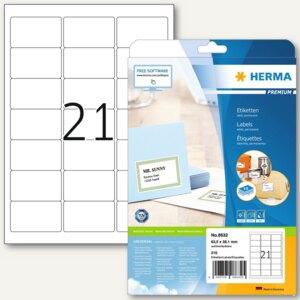 """Herma Universal-Etiketten """"PREMIUM"""", 63.5 x 38.1 mm, Rand, weiß, 840 Stück, 8632"""