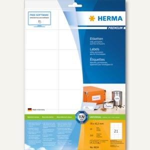 """Herma Universal-Etiketten """"PREMIUM"""", 70 x 42.3 mm, weiß, 840 Stück, 8634"""