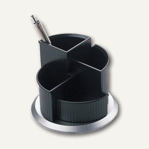 """Helit Serie """"Silver"""" Multiköcher mit Fußteil, drehbar, silber/schwarz, H62205.99"""