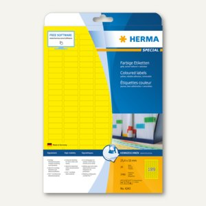 Herma Etiketten A4, 25.4x10 mm, Papier matt, gelb, 3.780 Stück, 4243