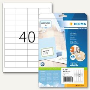 """Herma Etiketten """"Premium"""", DIN A4, 48.5 x 25.4 mm, Rand, weiß, 1.000 Stück, 4357"""