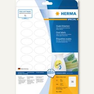 "Herma Etiketten ""Movables"", ablösbar, oval 40.6 x 25.4 mm, weiß, 900 Stück, 4380"