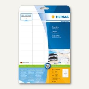 """Herma Etiketten """"PREMIUM"""", DIN A4, 48.3 x 25.4mm, Rand, weiß, 1.100 St., 5051"""