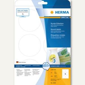 """Herma Etiketten """"Movables"""", ablösbar, rund, Ø 85 mm, weiß, 150 Stück, 5068"""