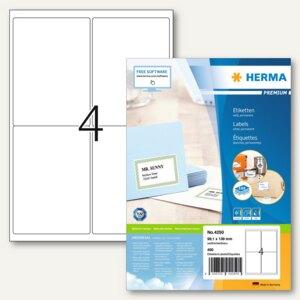 """Herma Etiketten """"Premium"""", DIN A4, 99.1 x 139 mm, Rand, weiß, 400 Stück, 4250"""