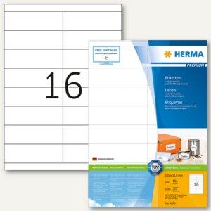 """Herma Etiketten """"Premium"""", DIN A4, 105 x 33.8 mm, weiß, 1.600 Stück, 4264"""