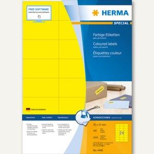 """Herma Etiketten """"SPECIAL"""", DIN A4, 70 x 37 mm, gelb/matt, 2.400 Stück, 4406"""