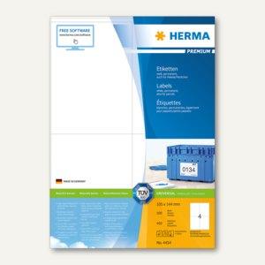 """Herma Etiketten """"Premium"""", DIN A4, 105 x 144 mm, weiß, 400 Stück, 4454"""