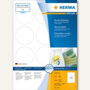 """Herma Etiketten """"Movables"""", ablösbar, rund Ø 60 mm, weiß, 1.200 Stück, 4477"""