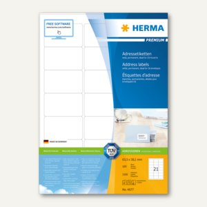"""Herma Etiketten """"Premium"""", DIN A4, 63.5 x 38.1 mm, Rand, weiß, 2.100 St., 4677"""
