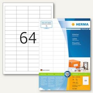 """Herma Etiketten """"Premium"""", DIN A4, 48.3 x 16.9 mm, Rand, weiß, 12.800 St., 4607"""