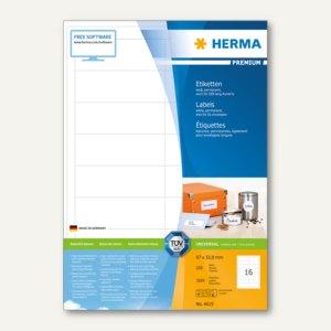 """Herma Etiketten """"Premium"""", DIN A4, 97 x 33.8 mm, Rand, weiß, 3.200 Stück, 4619"""