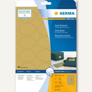 Herma Folien-Etiketten SPECIAL, 58.4 x 42.3 mm, oval, gold glänzend, 450St.,4106