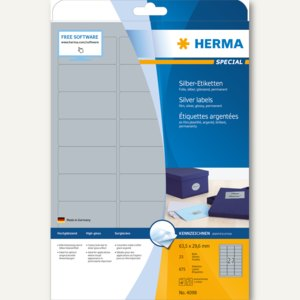 Herma Folien-Etiketten SPECIAL, 63.5 x 29.6 mm, silber glänzend, 675 Stück, 4098