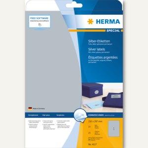Herma Folien-Etiketten SPECIAL, 210 x 297 mm, silber glänzend, 25 Stück, 4117