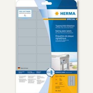 Herma Typenschildetiketten 63.5 x 29.6 mm, extrem haftend, silber, 675 St., 4222