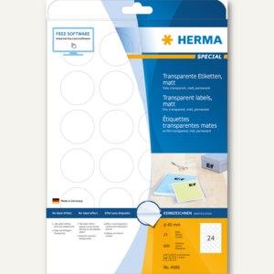 Herma Folien-Etiketten, Ø 40 mm rund, wetterfest, transparent matt, 600 St.,4686