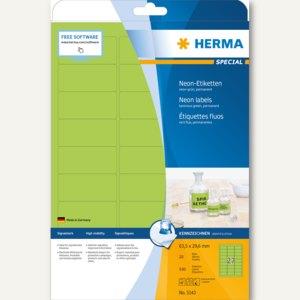 Herma Universal-Etiketten, 63.5 x 29.6 mm, Rand, neon-grün, 540 Stück, 5143