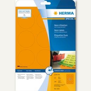 Herma Universal-Etiketten, rund, 60 mm, neon-orange, 240 St., 5153