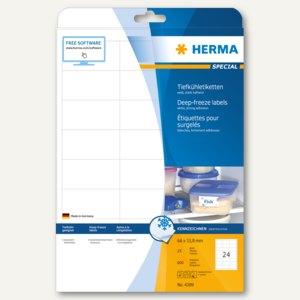 Herma Tiefkühletiketten A4, 66 x 33.8 mm, Papier matt, weiß, 600 Stück, 4389