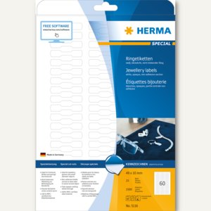 Herma Ringetiketten, 49 x 10 mm, für alle PC-Drucker, weiß, 1.500 St., 5116