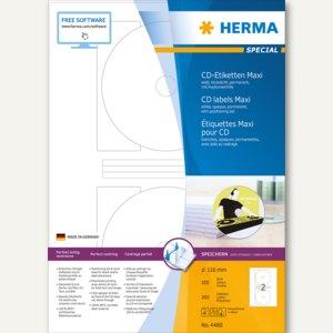 Herma CD-Etiketten Maxi A4 Ø 116 mm weiß Papier matt blickdicht 200 St., 4460