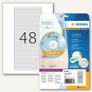 Herma Etiketten für CD-Box A4 weiß 114,3 x 5,5 mm Papier matt 1200 Stück, 5078