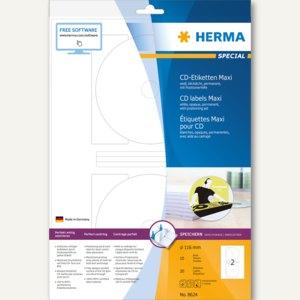 Herma CD-Etiketten Maxi, weiß, Ø 116, SPECIAL A4, 4 x 20 Stück, 8624