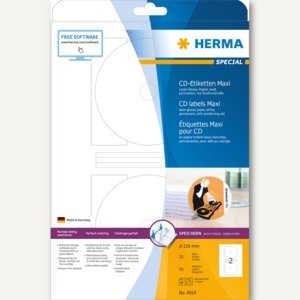 Herma CD-Etiketten, weiß Papier glänzend, ø 116mm, 50 St., 4914
