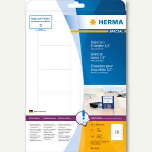 Herma Disketten-Etiketten, 70x50.8 mm, Papier matt, weiß, 250 Stück, 4353