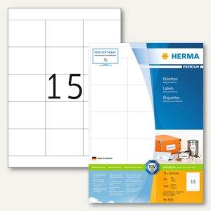 Herma Etiketten Premium, permanent, 70x50.8 mm, Papier matt, weiß, 3.000St.,4618