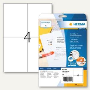Herma Abdecketiketten Special, DIN A4, 105x148 mm, blickdicht, weiß, 100St.,4229