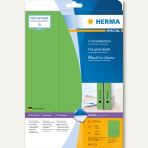 Herma Ordneretiketten, permanent, 297 x 61 mm, blickdicht, grün, 60 St., 5139