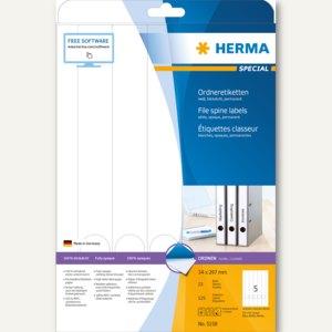 Herma Ordneretiketten, permanent, 297 x 34 mm, weiß, blickdicht, 125 St., 5158