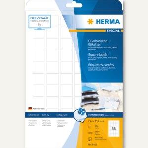 """Herma Etiketten """"Special"""", 25.4x25.4mm, 90 g/qm, Rand, weiß, 1.650 Stück, 8831"""