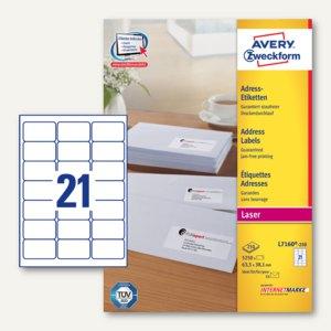 Zweckform Adress-Etiketten für C6-Kuverts, 63.5 x 38.1 mm, 5.250 St., L7160-250