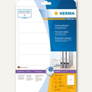 Herma Ordneretiketten Inkjet, permanent, 192 x 38 mm, weiß, matt, 175 St., 4825