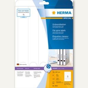 Herma Ordneretiketten Inkjet, permanent, 297 x 38 mm, weiß, matt, 125 St., 4830