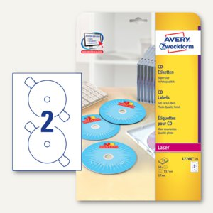 Zweckform CD-Etiketten SuperSize für Farblaser, Fotoqualität, 50 Stück, L7760-25