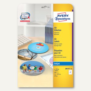 Zweckform Inkjet CD-Etiketten, SuperSize, wischfest, weiß, 50 Stück, J8676-25