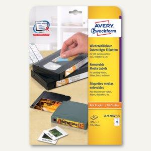 Etiketten für VHS-Kassetten / ZIPs, 59x50 mm, weiß, 375 Stück, L4747REV-25