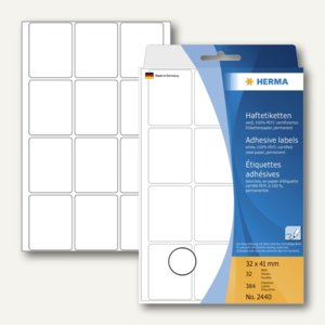 Herma Vielzweck-Etiketten, 32 x 41 mm, weiß, 5 x 384 Stück, 2440