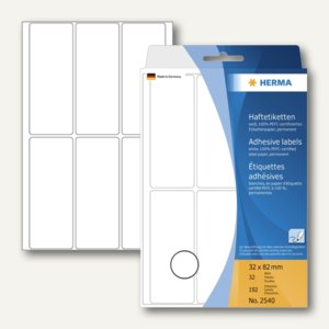 Herma Vielzweck-Etiketten, 32 x 82 mm, weiß, 5 x 192 Stück, 2540
