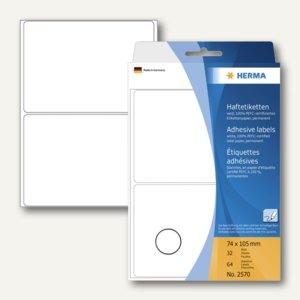 Herma Vielzweck-Etiketten, 74 x 105 mm, weiß, 5 x 64 Stück, 2570
