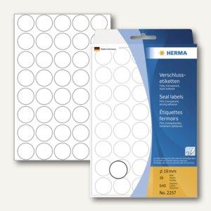 Herma Verschlussetiketten, permanent, rund, ø 19 mm, transparent, 3.200 St.,2257