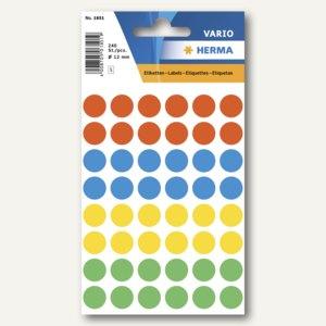 Herma Vielzweck-Etiketten, ø 12 mm, farblich sortiert, 10 x 240 Stück, 1851