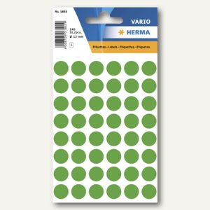 Herma Vielzweck-Etiketten, ø 12 mm, dunkelgrün, 10 x 240 Stück, 1855
