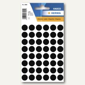 Herma Vielzweck-Etiketten, ø 12 mm, schwarz, 10 x 240 Stück, 1869